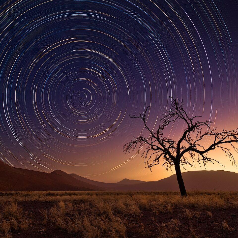 Startrails over desert scene in Namibia