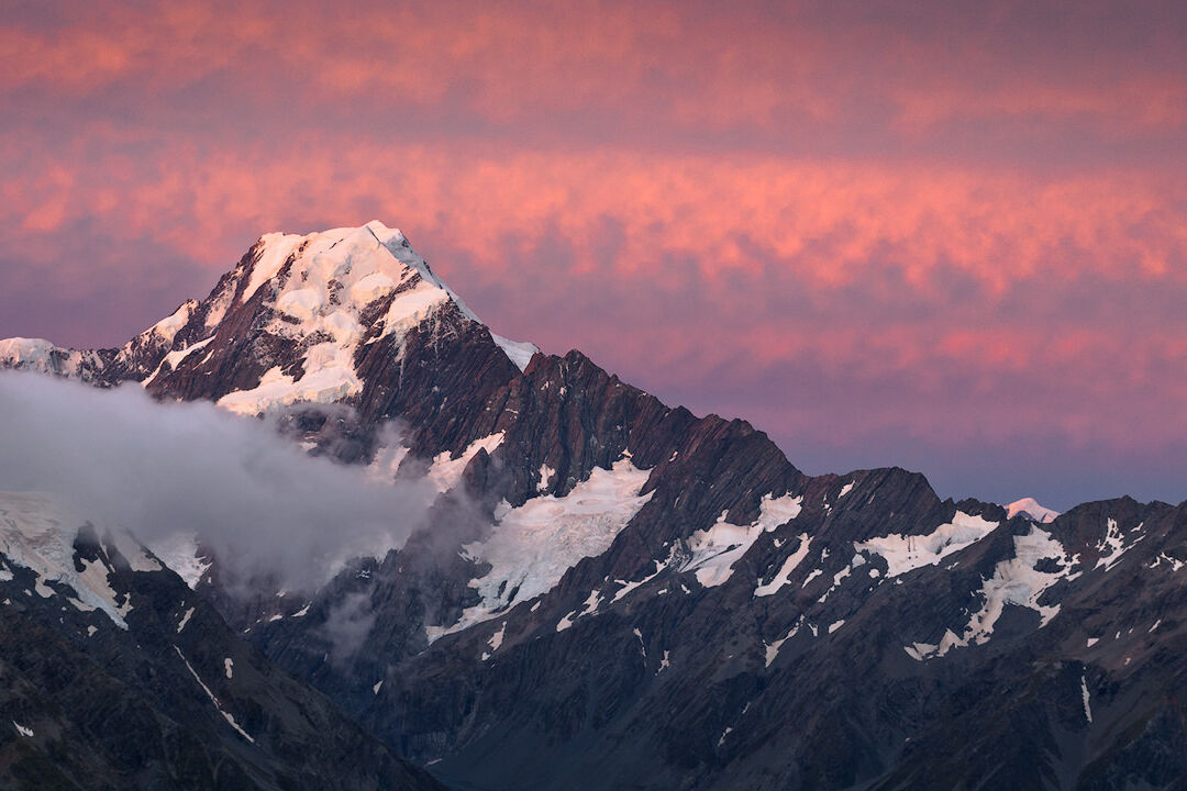 Mount Cook at sunset seen from Mueller hut