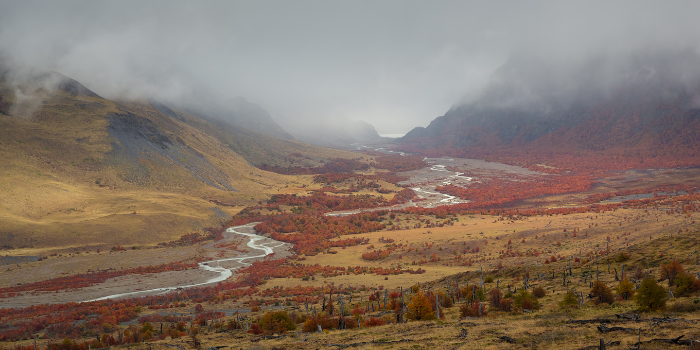 Valley with trees in autumn colours