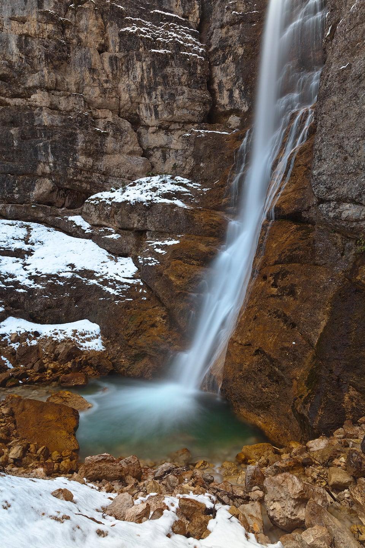 Cascata di Fanes waterfall in winter