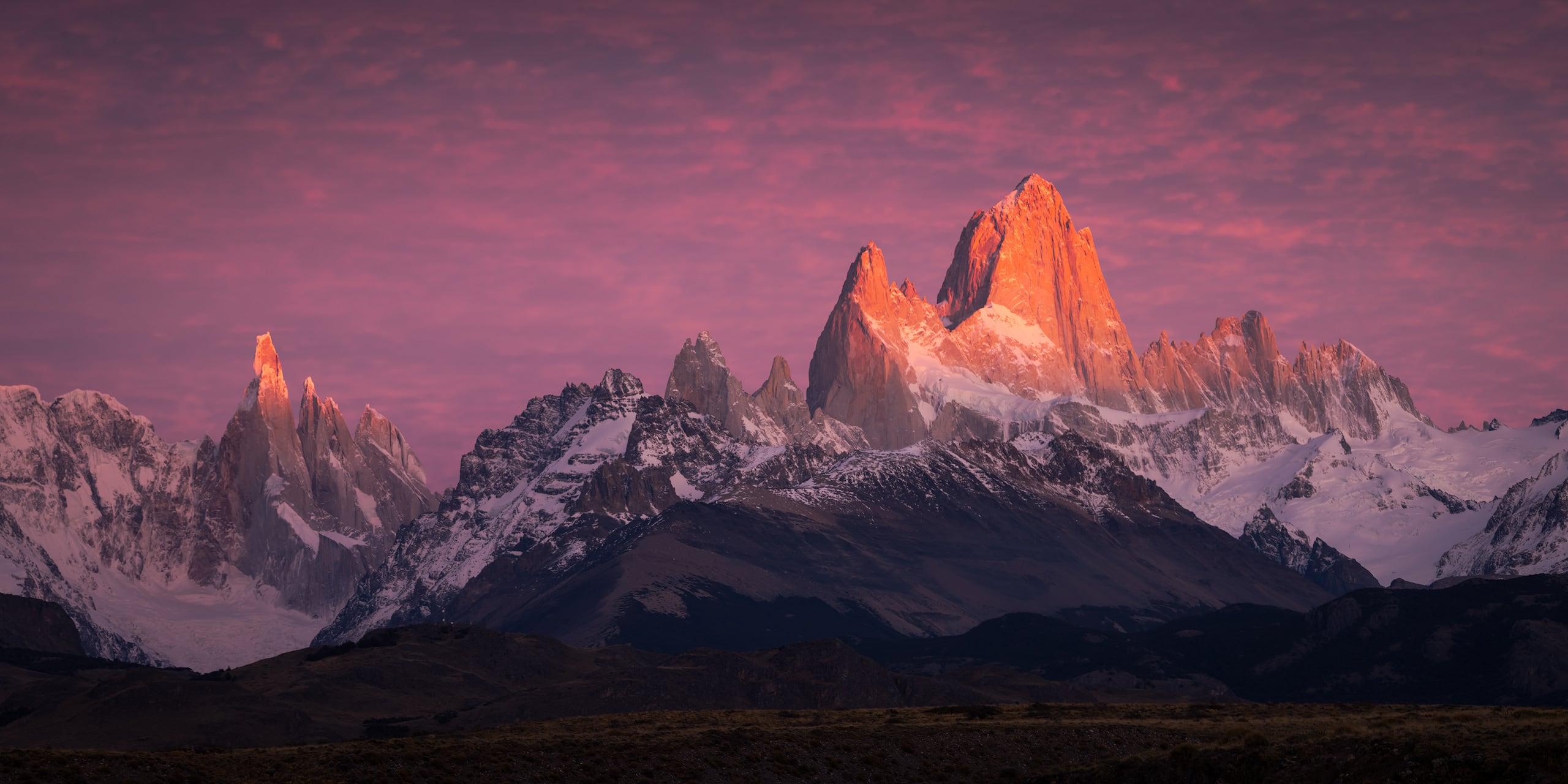 Warm sunrise light on the mountains of Parque Nacional los Glaciares