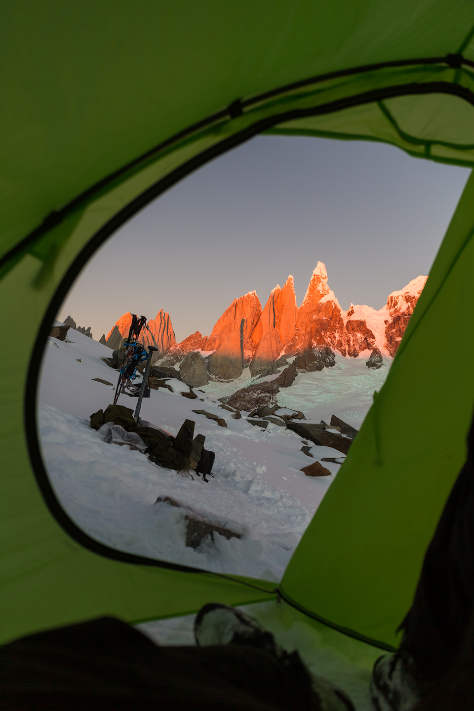 Cerro Torre seen from inside a tent