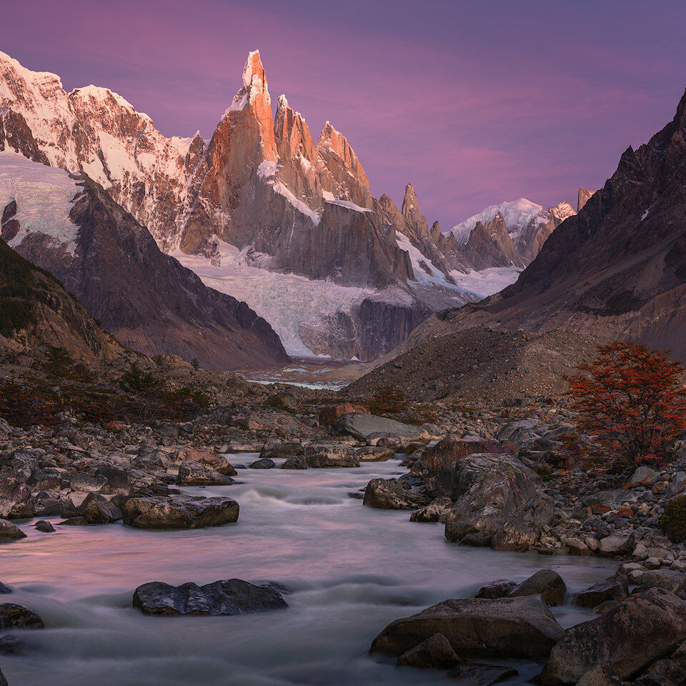 Cerro Torre with autumn colours at sunrise