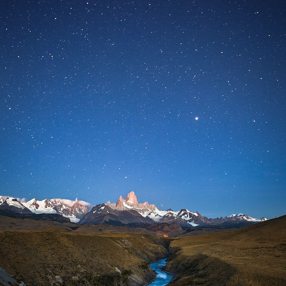 Cerro Torre and Fitz Roy at night