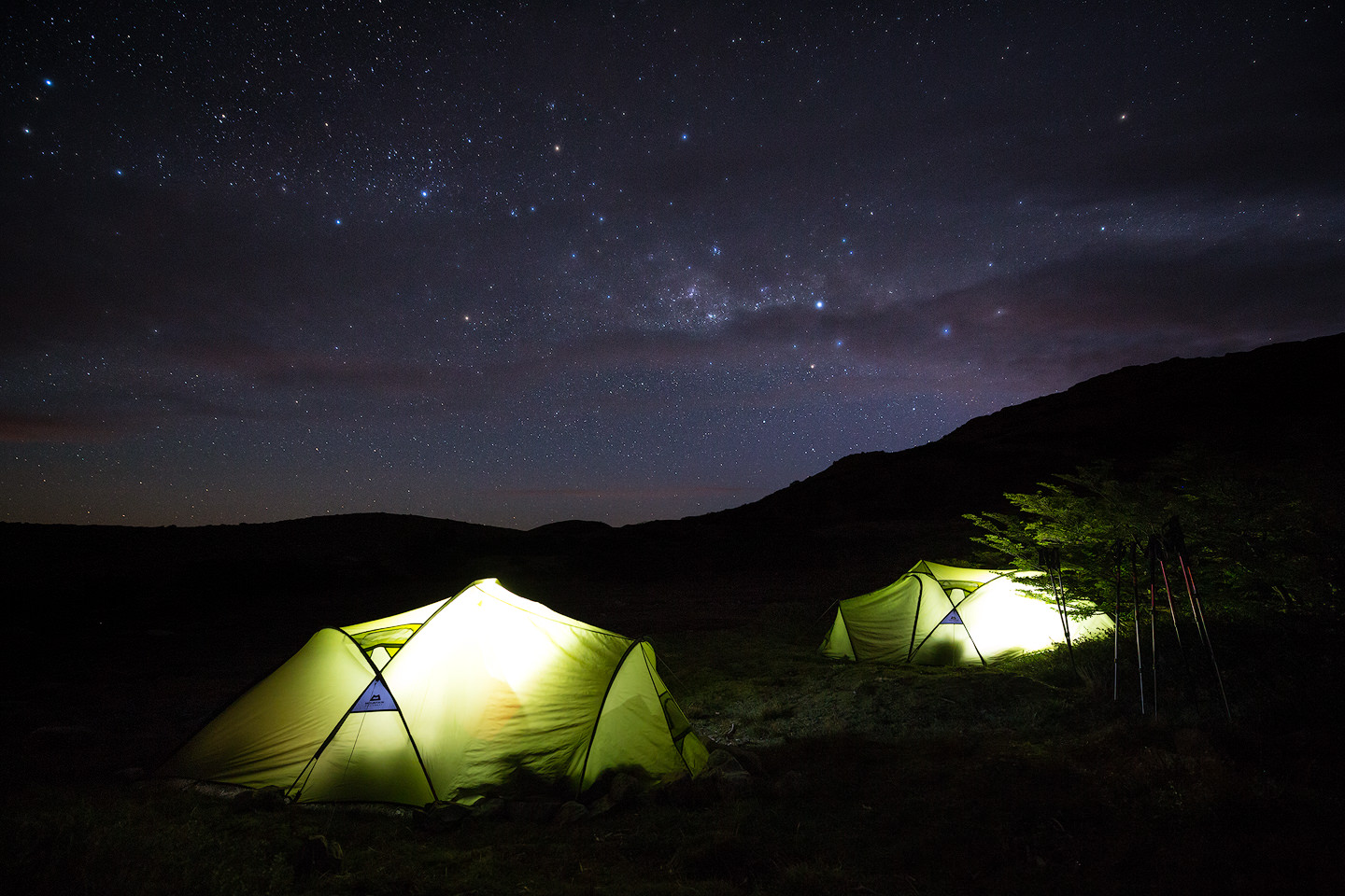 Two tents under the stars.