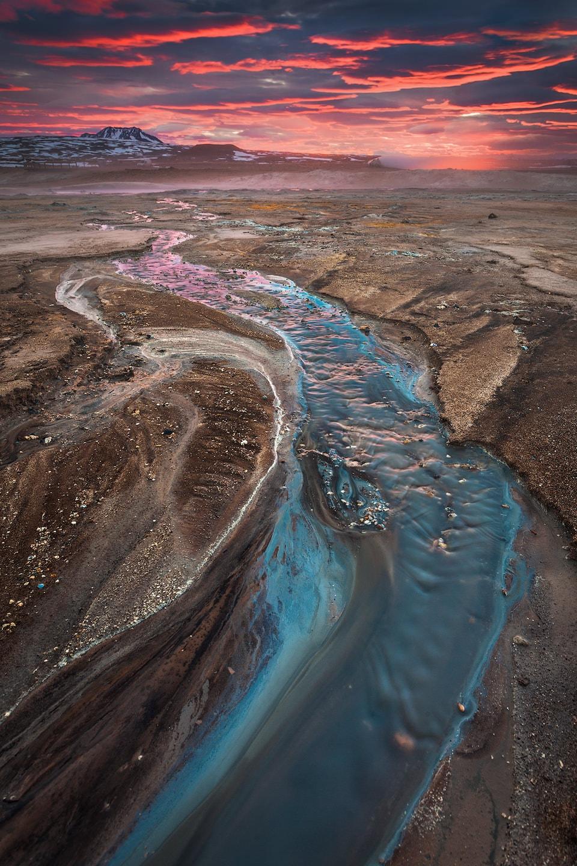 A stream in the Hverir high-temperature area at sunrise