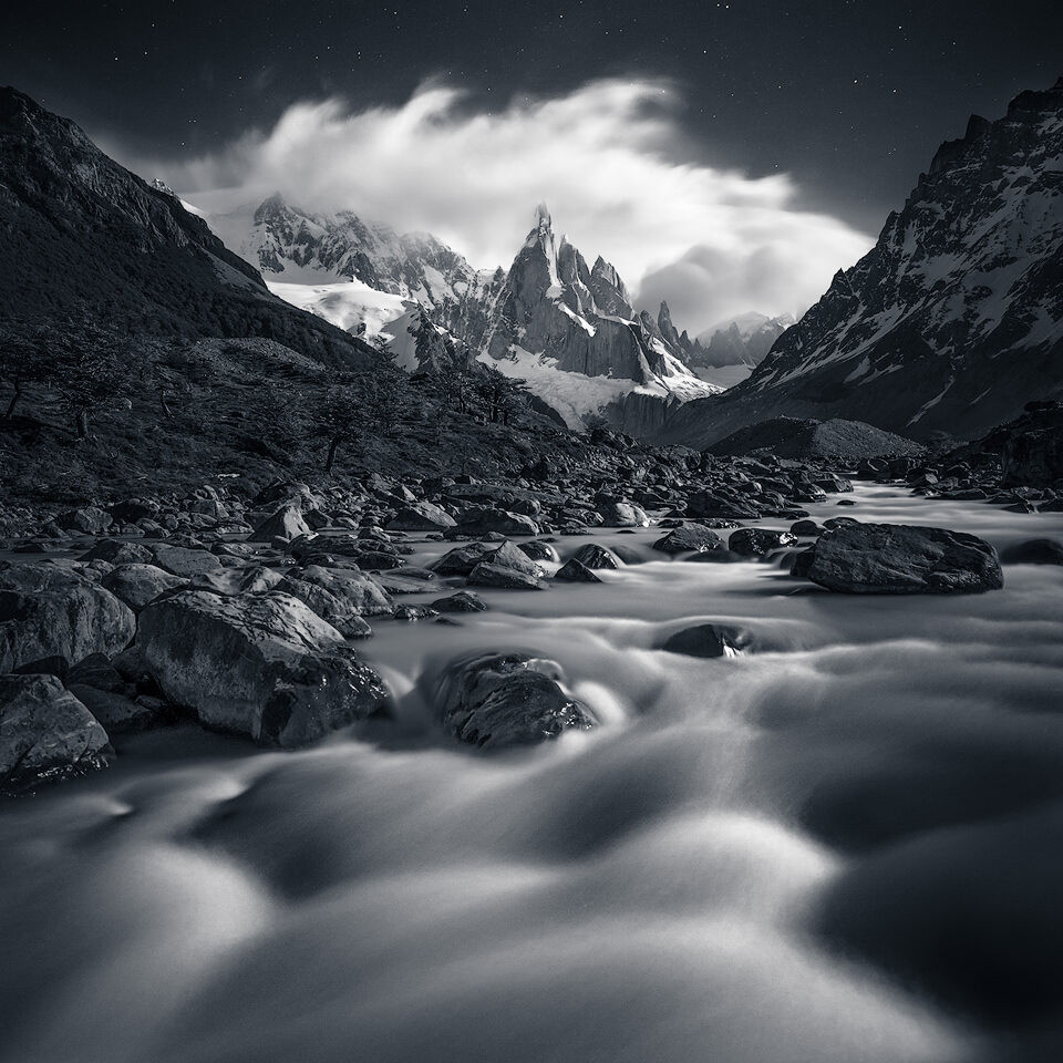 Stars and moonlight above Cerro Torre, Patagonia.